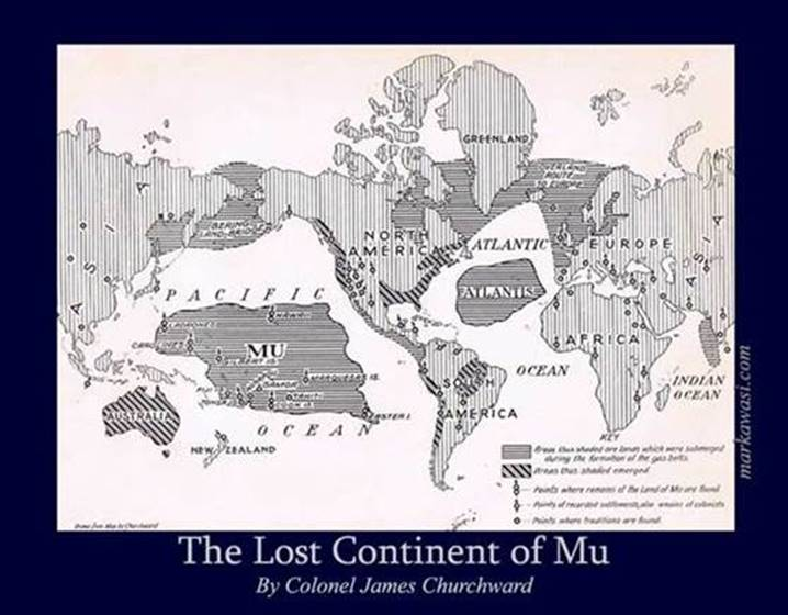 Map of the Lost Continent of Mu by COL James Churchward
